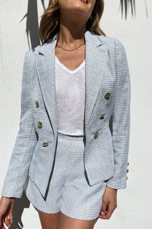 Lipsy Blue Boucle Military Tailored Button Blazer