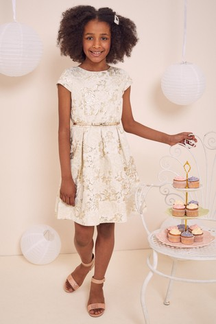 Lipsy Gold Cap Sleeve Belted Dress