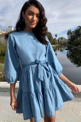 Lipsy Blue Denim Tiered Smock Dress