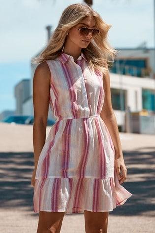 Lipsy Multi Stripe Tiered Hem Shirt Dress