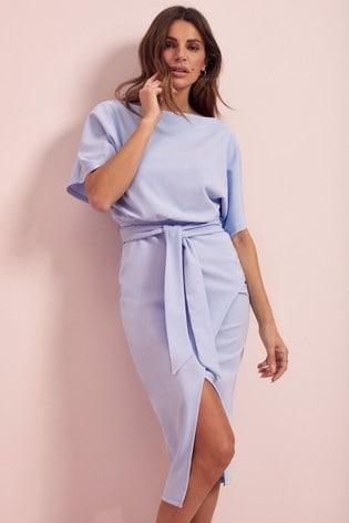Lipsy Light Blue Kimono Tie Waist Dress