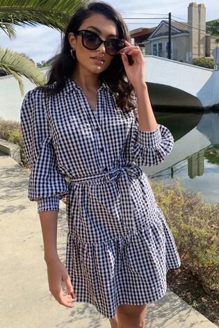 Lipsy Monochrome Gingham Volume Sleeve Shirt Dress
