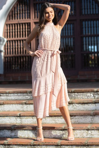 Lipsy Nude VIP Halter Fit and Flare Prom Dress