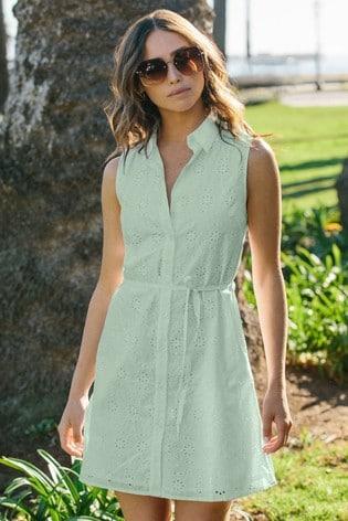 Lipsy Green Tie Waist Printed Shirt Dress