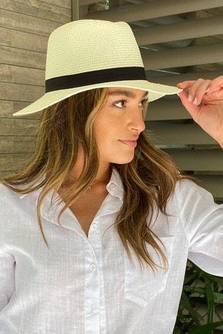 Lipsy Neutral Straw Fedora Hat