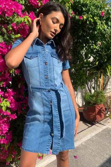 Lipsy Blue Denim Short Sleeve Shirt Dress