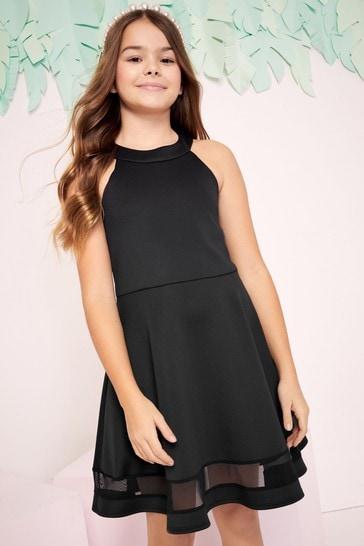 Lipsy Black Hi Neck Scallop Scuba Dress