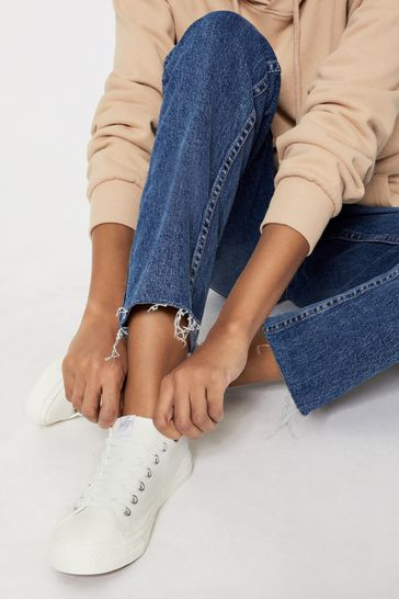 Lipsy White Regular Fit Low Top Lace Up Canvas Trainer