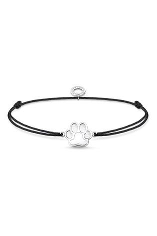 Thomas Sabo Black Fabric Bracelet with Dog Paw Charm