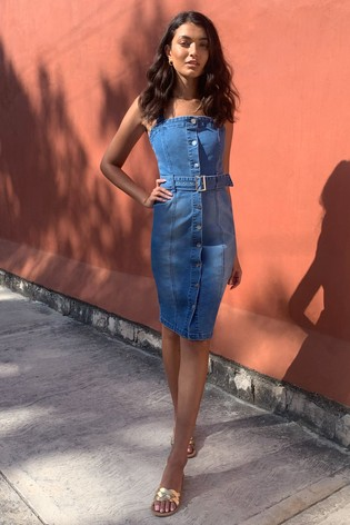 Lipsy Blue Denim Belted Midi Dress