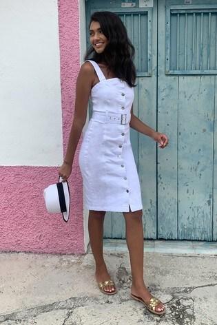 Lipsy White Denim Belted Midi Dress