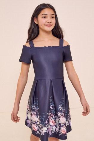 Lipsy Navy Scallop Bardot Scuba Dress