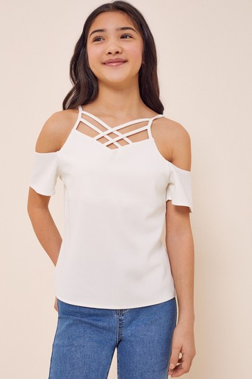 Lipsy White Caged Top