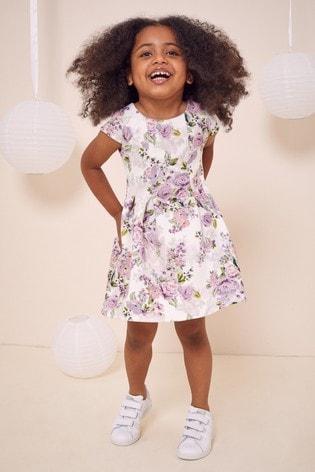 Lipsy White Floral Mini Scuba Dress