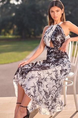 Lipsy Monochrome Cut Out Detail Maxi Dress