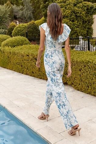 Lipsy Blue Printed Linen Ruffle Jumpsuit