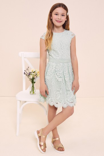 Lipsy Mint Green Cap Sleeve Lace Occasion Dress