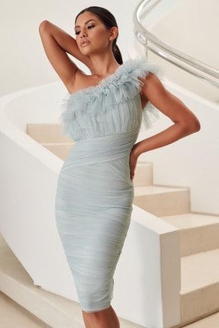 Lipsy Mint Ruffle One Shoulder Ruched Mesh Dress