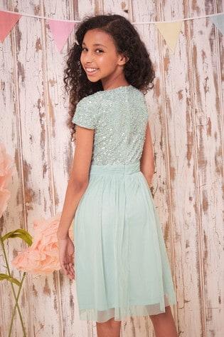 Lipsy Green Sequin Bodice Occasion Dress