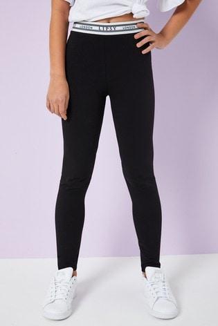 Lipsy Black Branded Waistband Legging