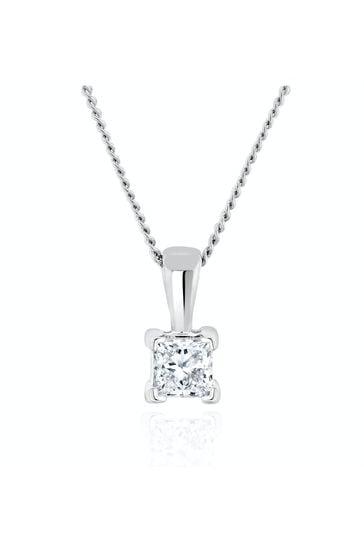 The Diamond Store White Princess Cut Lab Diamond Pendant Necklace 0.15CT in 9K White Gold