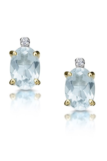The Diamond Store Aquamarine Blue 0.80CT And Diamond Earrings in 9K Yellow Gold 8mm x 4mm