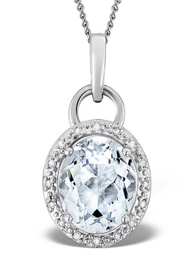 The Diamond Store Aquamarine 2.69ct And Diamond Pendant Necklace in 9K White Gold
