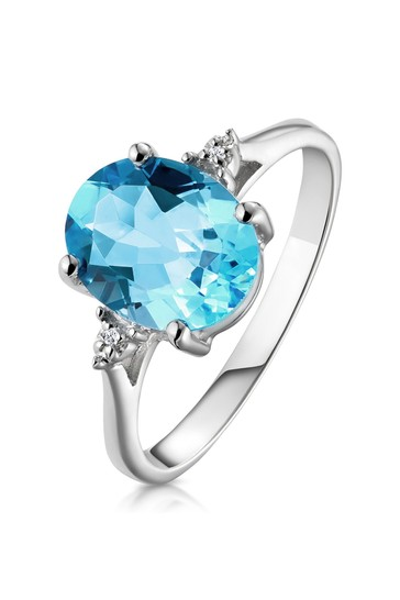 The Diamond Store Blue Topaz 2.60ct and Diamond Ring in 9K White Gold