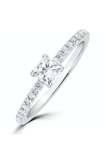 The Diamond Store Princess Cut Lab Diamond Engagement Ring 0.25ct H/Si in 9K White Gold