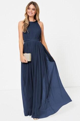 Anaya With Love Navy Regular Halter Maxi Dress
