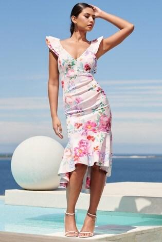 Lipsy Multi Regular Ruffle Hem Midi Dress