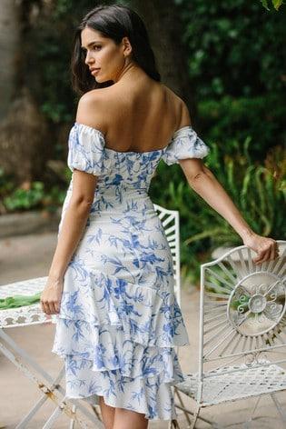 Lipsy White Printed Ruffle Hem Bardot Midi Dress