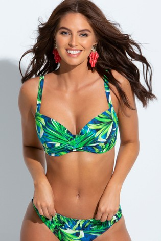Pour Moi Green Free Spirit Lightly Padded Underwired Twist Front Top