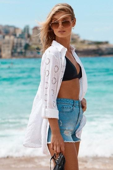 Lipsy White Broderie Beach Shirt