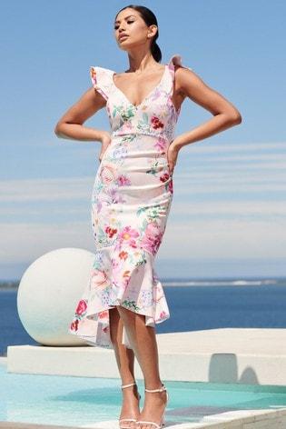 Lipsy Multi Petite Ruffle Hem Midi Dress