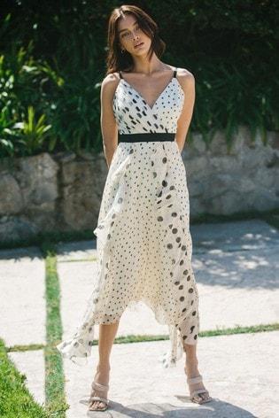 Lipsy Monochrome Spot Ruffle Front Detail Maxi Dress