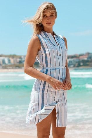 Blue Stripe Printed Sleeveless Shirt Dress