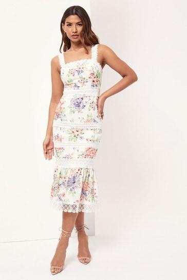 Lipsy Floral Lace Trim Linen Midi Dress