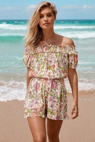 Lipsy Multi Shirred Bardot Floral Playsuit
