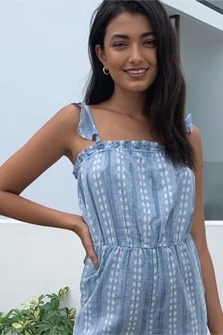 Lipsy Blue Floral Stripe Cami Culotte Jumpsuit