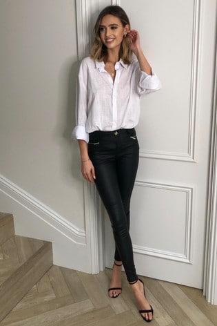 Lipsy Black Coated Kate Long Mid Rise Skinny Jeans