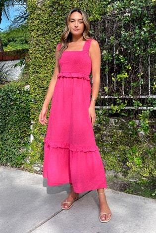 Lipsy Pink Linen Style Regular Shirred Strappy Midi Dress