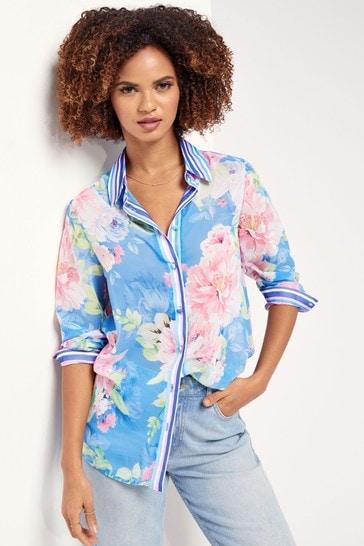 Lipsy Blue Floral Stripe Regular Printed Shirt