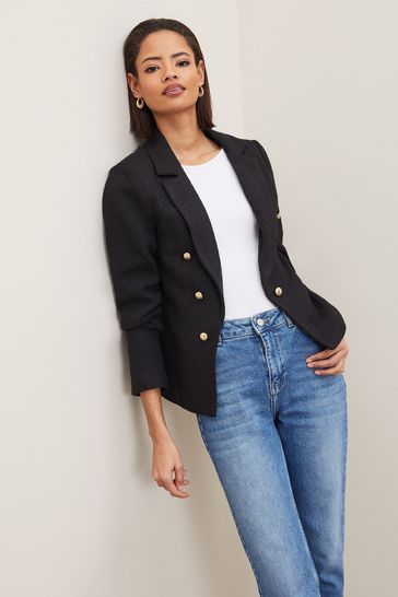 Lipsy Black Boucle Military Tailored Button Blazer