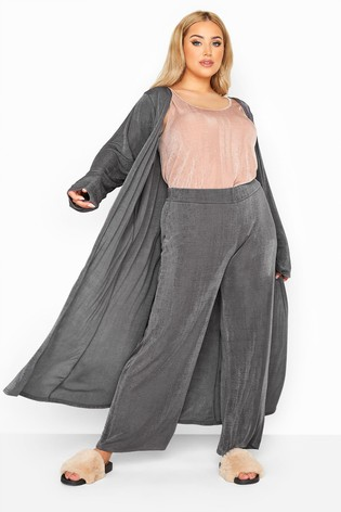 Yours Grey Curve London Slinky Co-Ord Wide Leg Trousers