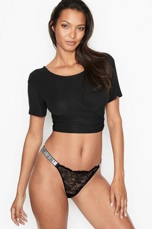 Victoria's Secret Logo Shine Strap Thong Panty