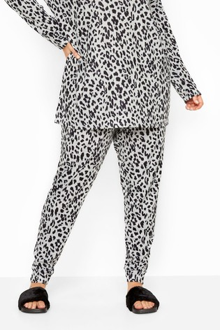 Yours Grey Curve Animal Print Lounge Co-Ord Bottoms