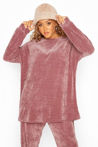 Yours Pink Curve Chenille Drop Shoulder Co-Ord Sweatshirt