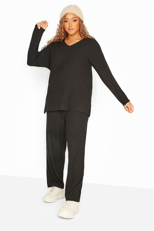 Yours Black Curve Wide Leg Ribbed Co-Ord Lounge Pants