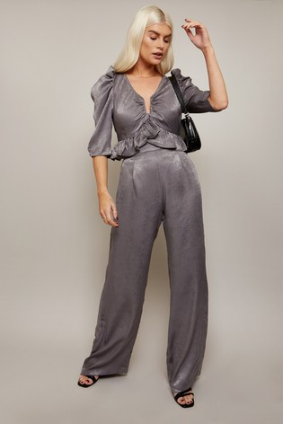 Little Mistress Grey Influence Satin Wide Leg Trousers